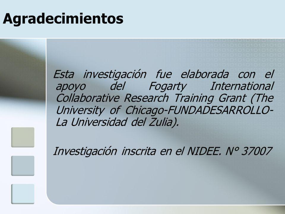 Agradecimientos Esta investigación fue elaborada con el apoyo del Fogarty International Collaborative Research Training Grant (The University of Chicago-FUNDADESARROLLO- La Universidad del Zulia).