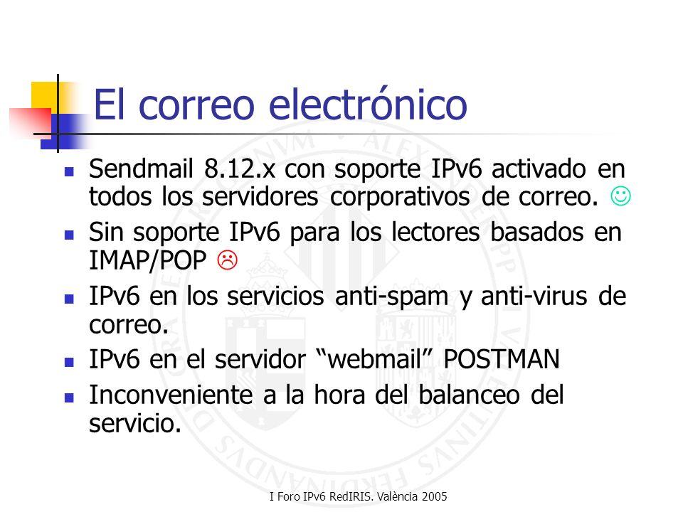 I Foro IPv6 RedIRIS. València 2005 El correo electrónico Sendmail 8.12.x con soporte IPv6 activado en todos los servidores corporativos de correo. Sin