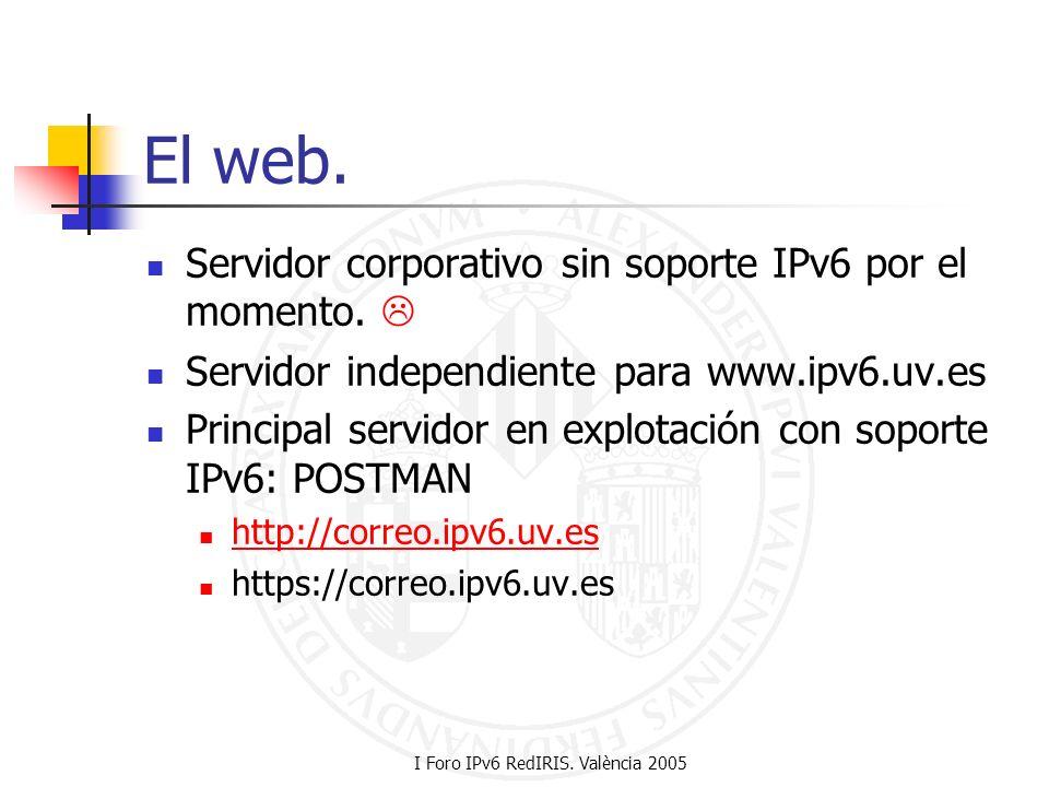 I Foro IPv6 RedIRIS. València 2005 El web. Servidor corporativo sin soporte IPv6 por el momento. Servidor independiente para www.ipv6.uv.es Principal