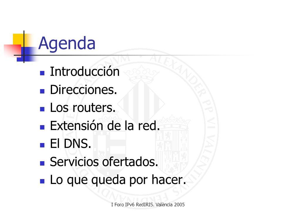 I Foro IPv6 RedIRIS. València 2005 Agenda Introducción Direcciones. Los routers. Extensión de la red. El DNS. Servicios ofertados. Lo que queda por ha