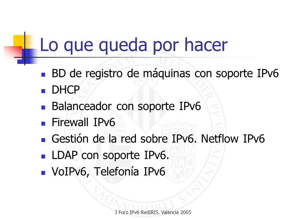 I Foro IPv6 RedIRIS. València 2005 Lo que queda por hacer BD de registro de máquinas con soporte IPv6 DHCP Balanceador con soporte IPv6 Firewall IPv6