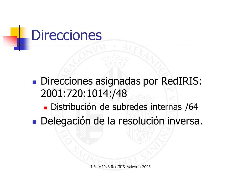I Foro IPv6 RedIRIS. València 2005 Direcciones Direcciones asignadas por RedIRIS: 2001:720:1014:/48 Distribución de subredes internas /64 Delegación d