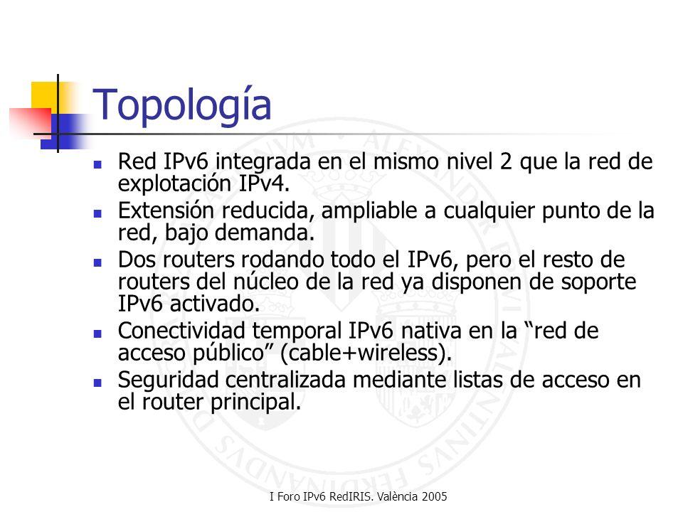 I Foro IPv6 RedIRIS. València 2005 Topología Red IPv6 integrada en el mismo nivel 2 que la red de explotación IPv4. Extensión reducida, ampliable a cu