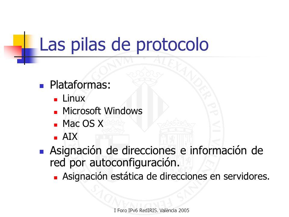 I Foro IPv6 RedIRIS. València 2005 Las pilas de protocolo Plataformas: Linux Microsoft Windows Mac OS X AIX Asignación de direcciones e información de
