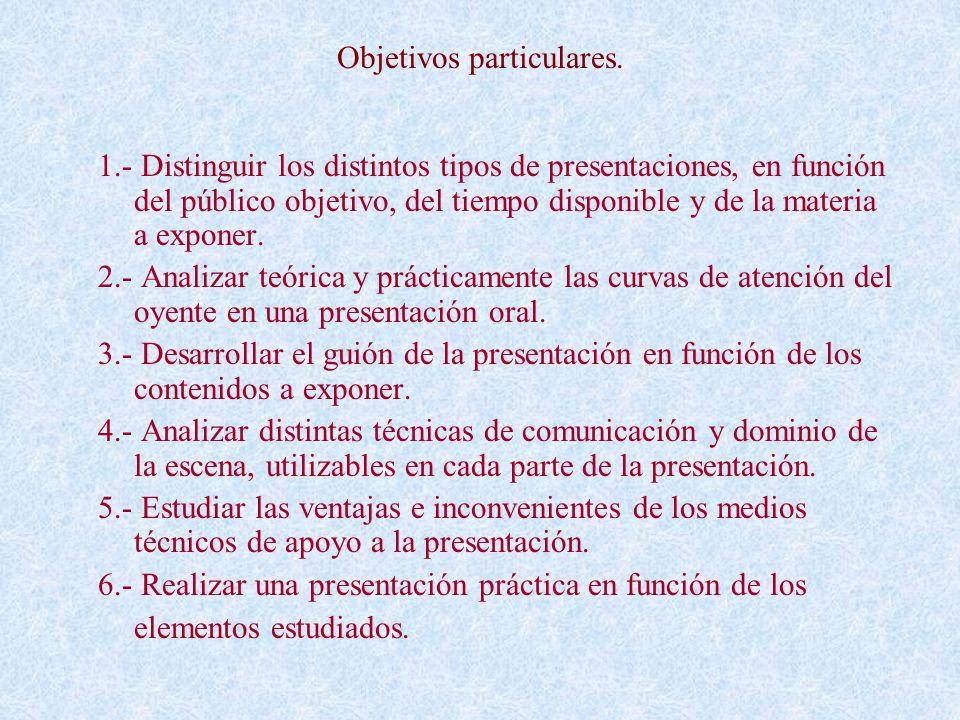 Objetivos particulares. 1.- Distinguir los distintos tipos de presentaciones, en función del público objetivo, del tiempo disponible y de la materia a