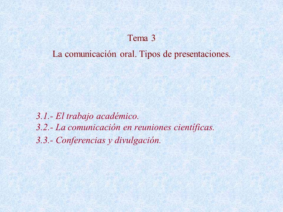 Tema 3 La comunicación oral. Tipos de presentaciones. 3.1.- El trabajo académico. 3.2.- La comunicación en reuniones científicas. 3.3.- Conferencias y
