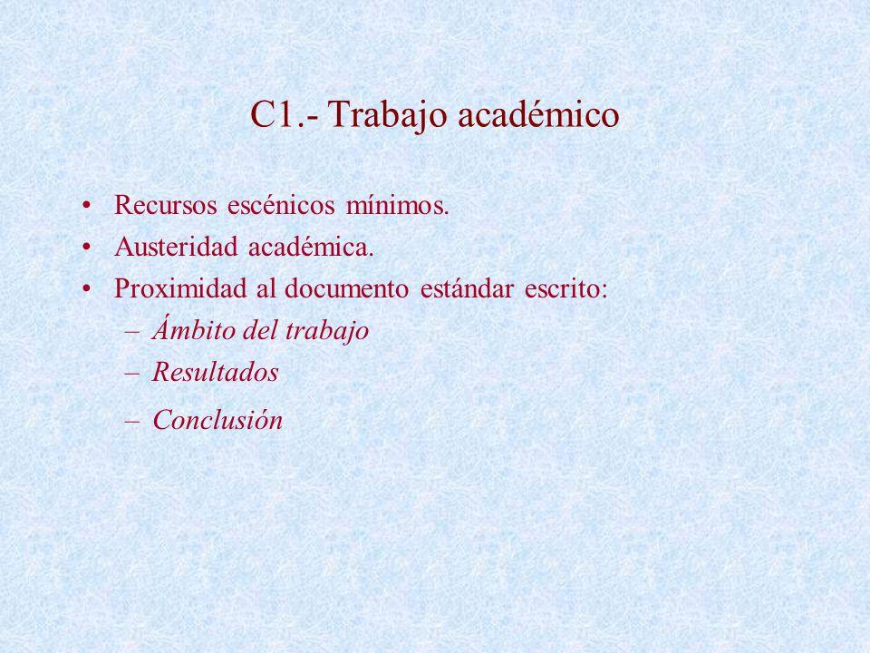 C1.- Trabajo académico Recursos escénicos mínimos. Austeridad académica. Proximidad al documento estándar escrito: –Ámbito del trabajo –Resultados –Co