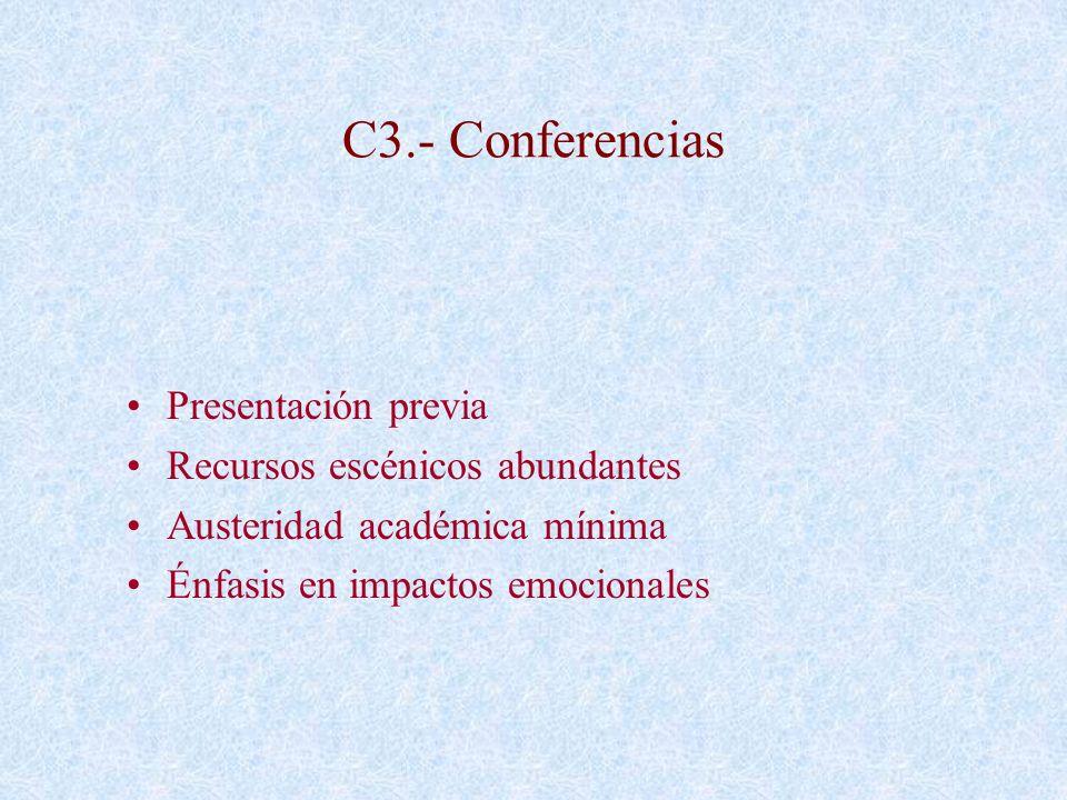 C3.- Conferencias Presentación previa Recursos escénicos abundantes Austeridad académica mínima Énfasis en impactos emocionales