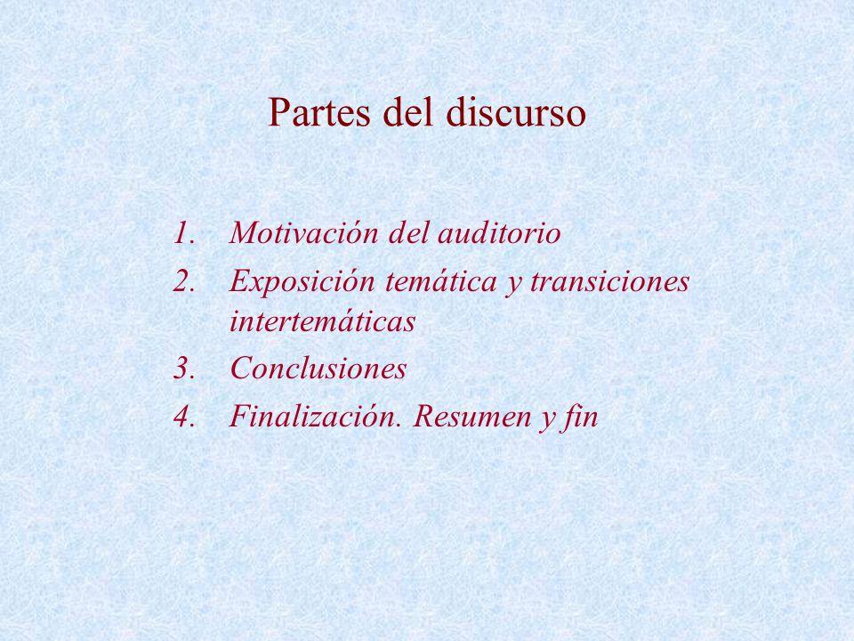 Partes del discurso 1.Motivación del auditorio 2.Exposición temática y transiciones intertemáticas 3.Conclusiones 4.Finalización. Resumen y fin