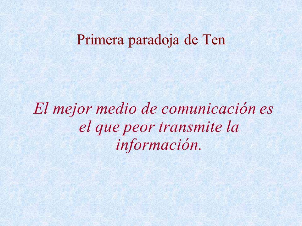 Primera paradoja de Ten El mejor medio de comunicación es el que peor transmite la información.