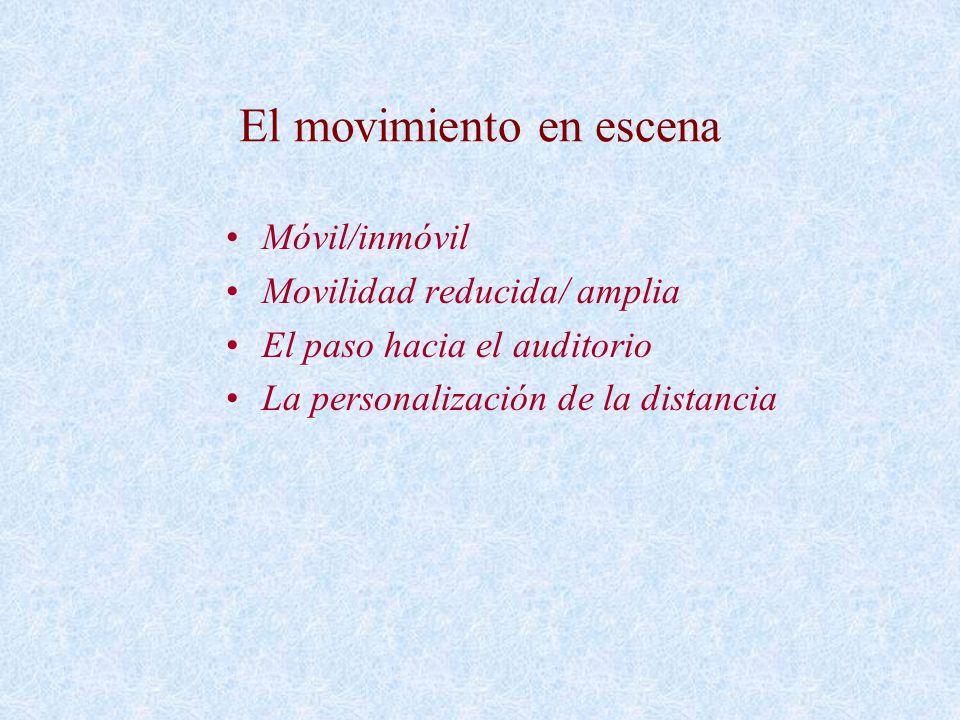 El movimiento en escena Móvil/inmóvil Movilidad reducida/ amplia El paso hacia el auditorio La personalización de la distancia