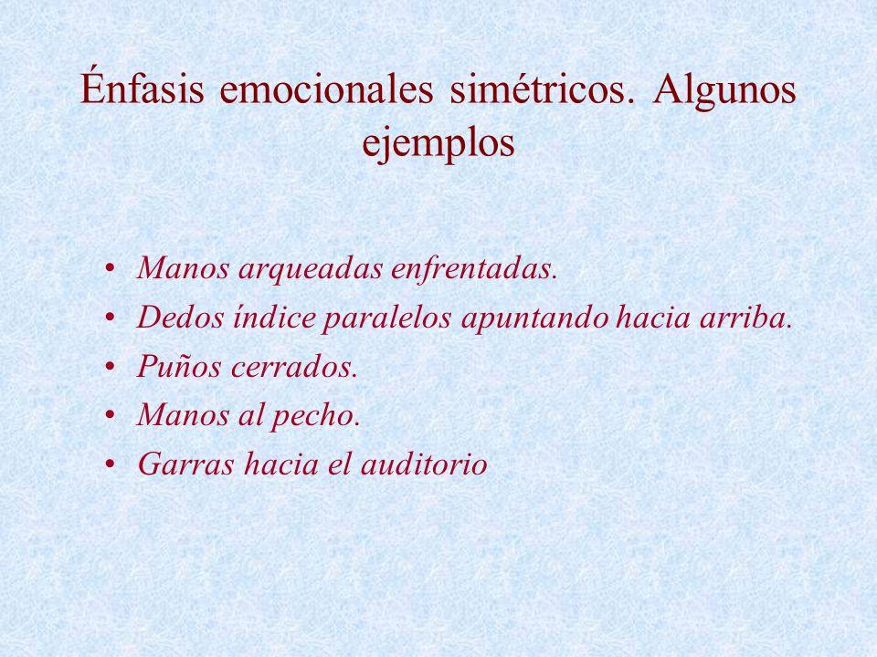 Énfasis emocionales simétricos. Algunos ejemplos Manos arqueadas enfrentadas. Dedos índice paralelos apuntando hacia arriba. Puños cerrados. Manos al