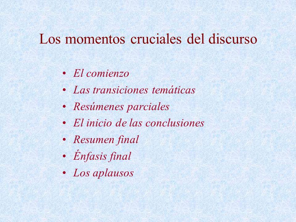 Los momentos cruciales del discurso El comienzo Las transiciones temáticas Resúmenes parciales El inicio de las conclusiones Resumen final Énfasis fin