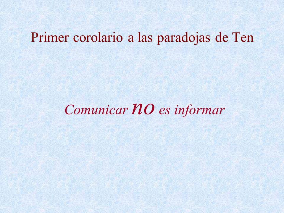 Segundo corolario a las paradojas de Ten La comunicación y la información obedecen a reglas diferentes.