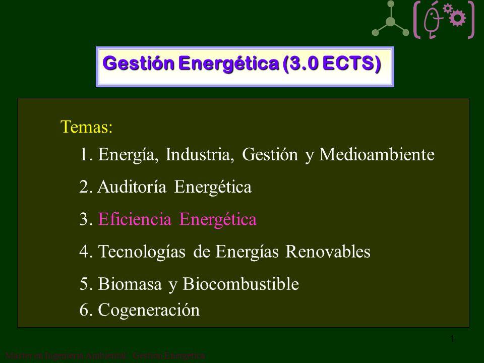 1 Gestión Energética (3.0 ECTS) 1.Energía, Industria, Gestión y Medioambiente 2.