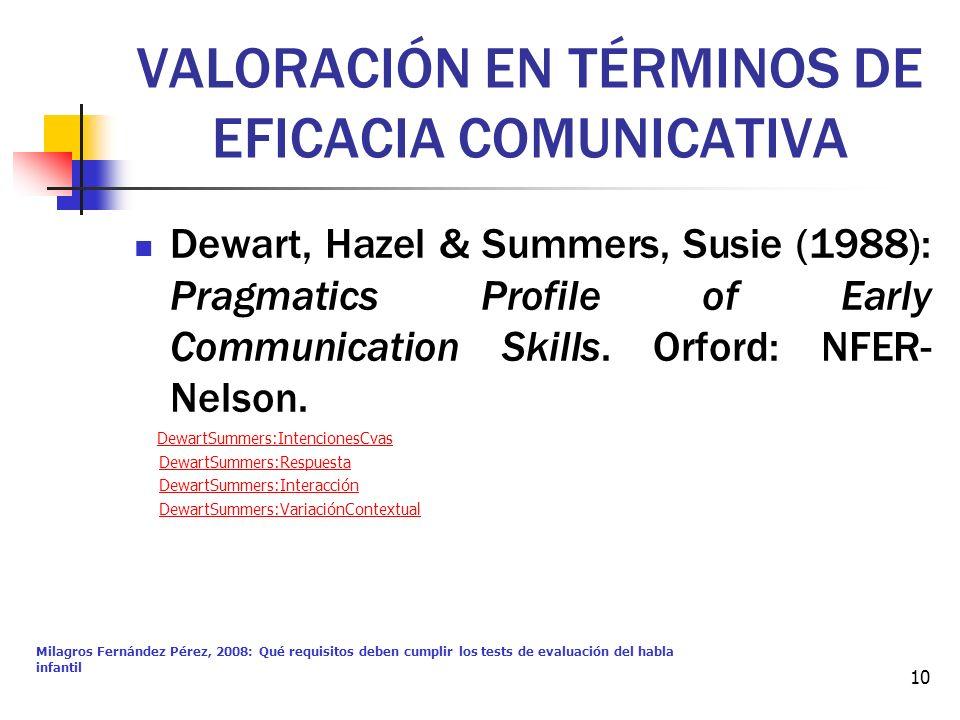 Milagros Fernández Pérez, 2008: Qué requisitos deben cumplir los tests de evaluación del habla infantil 10 VALORACIÓN EN TÉRMINOS DE EFICACIA COMUNICA