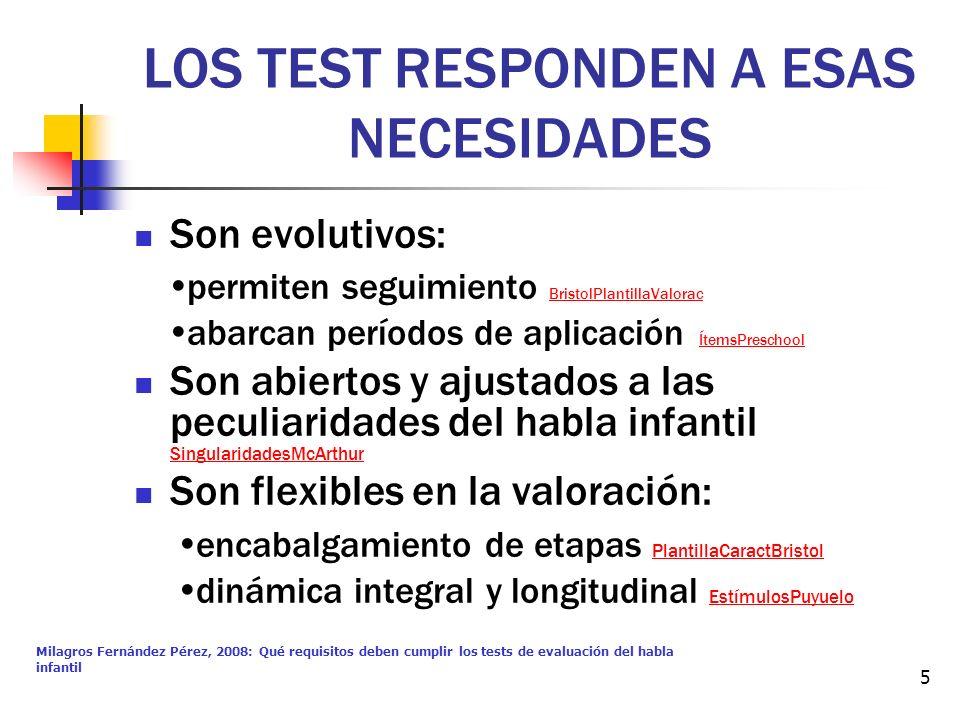 Milagros Fernández Pérez, 2008: Qué requisitos deben cumplir los tests de evaluación del habla infantil 5 LOS TEST RESPONDEN A ESAS NECESIDADES Son ev