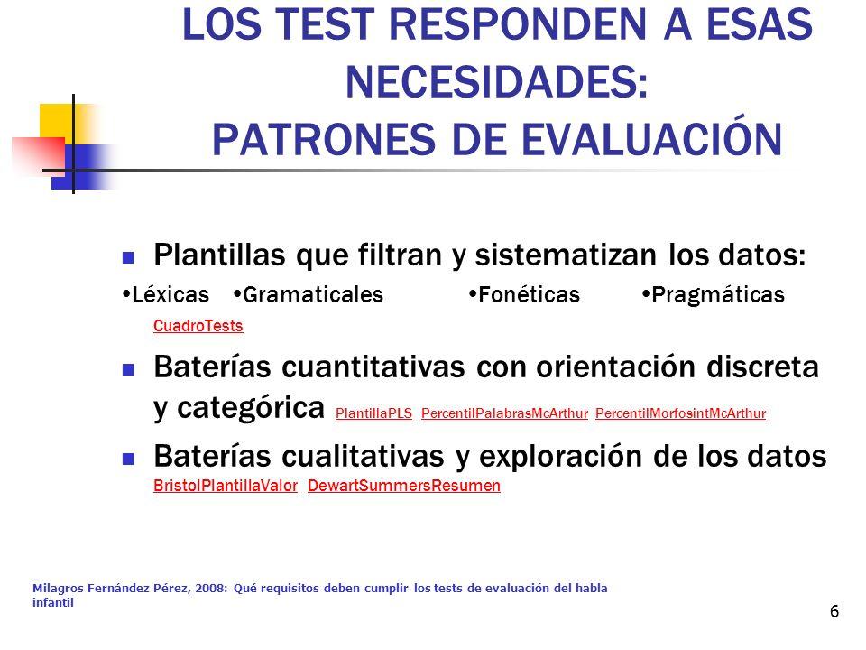 Milagros Fernández Pérez, 2008: Qué requisitos deben cumplir los tests de evaluación del habla infantil 6 LOS TEST RESPONDEN A ESAS NECESIDADES: PATRO