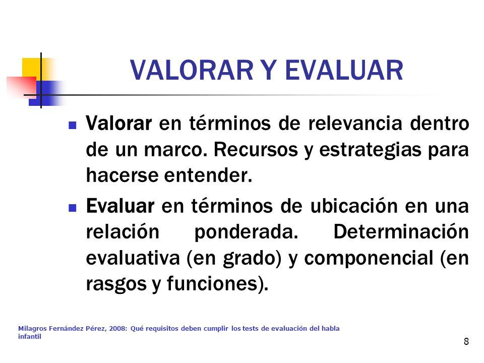 Milagros Fernández Pérez, 2008: Qué requisitos deben cumplir los tests de evaluación del habla infantil 8 VALORAR Y EVALUAR Valorar en términos de rel