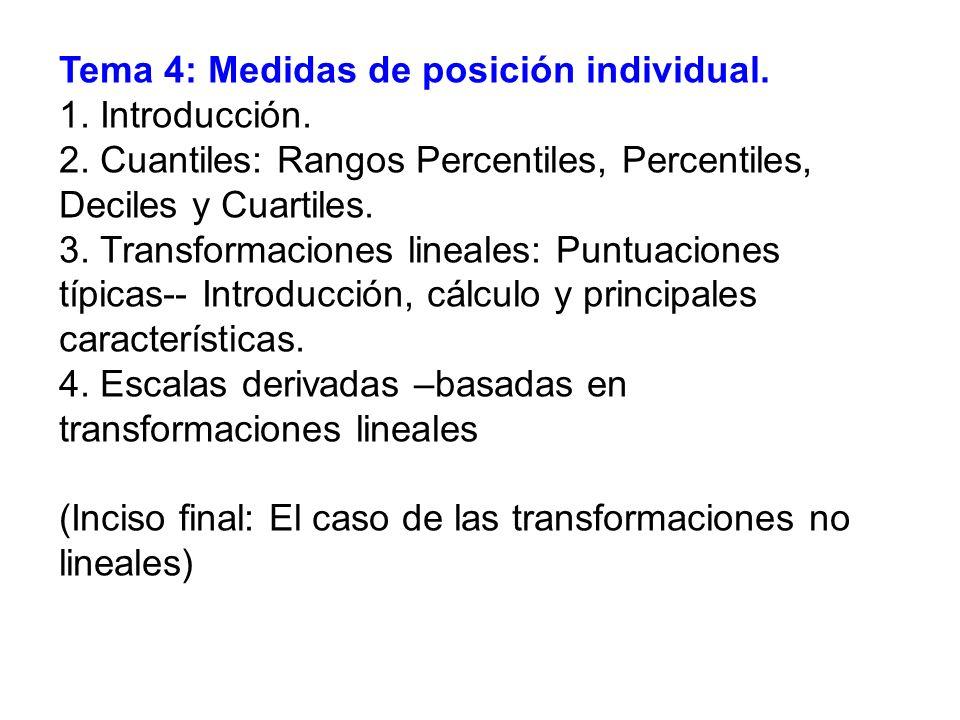 Tema 4: Medidas de posición individual. 1. Introducción. 2. Cuantiles: Rangos Percentiles, Percentiles, Deciles y Cuartiles. 3. Transformaciones linea