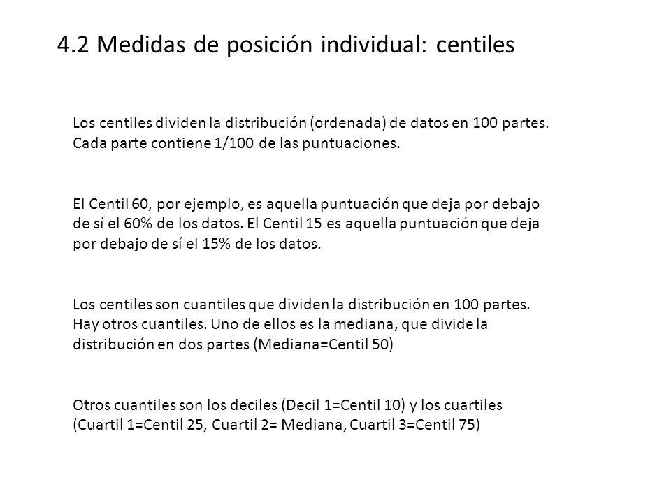 4.2 Medidas de posición individual: centiles Los centiles dividen la distribución (ordenada) de datos en 100 partes. Cada parte contiene 1/100 de las