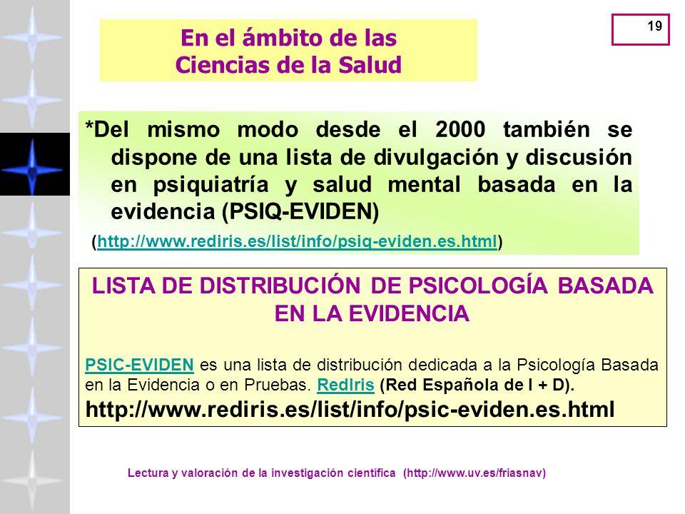 Lectura y valoración de la investigación científica (http://www.uv.es/friasnav) 19 *Del mismo modo desde el 2000 también se dispone de una lista de divulgación y discusión en psiquiatría y salud mental basada en la evidencia (PSIQ-EVIDEN) (http://www.rediris.es/list/info/psiq-eviden.es.html)http://www.rediris.es/list/info/psiq-eviden.es.html En el ámbito de las Ciencias de la Salud LISTA DE DISTRIBUCIÓN DE PSICOLOGÍA BASADA EN LA EVIDENCIA PSIC-EVIDENPSIC-EVIDEN es una lista de distribución dedicada a la Psicología Basada en la Evidencia o en Pruebas.