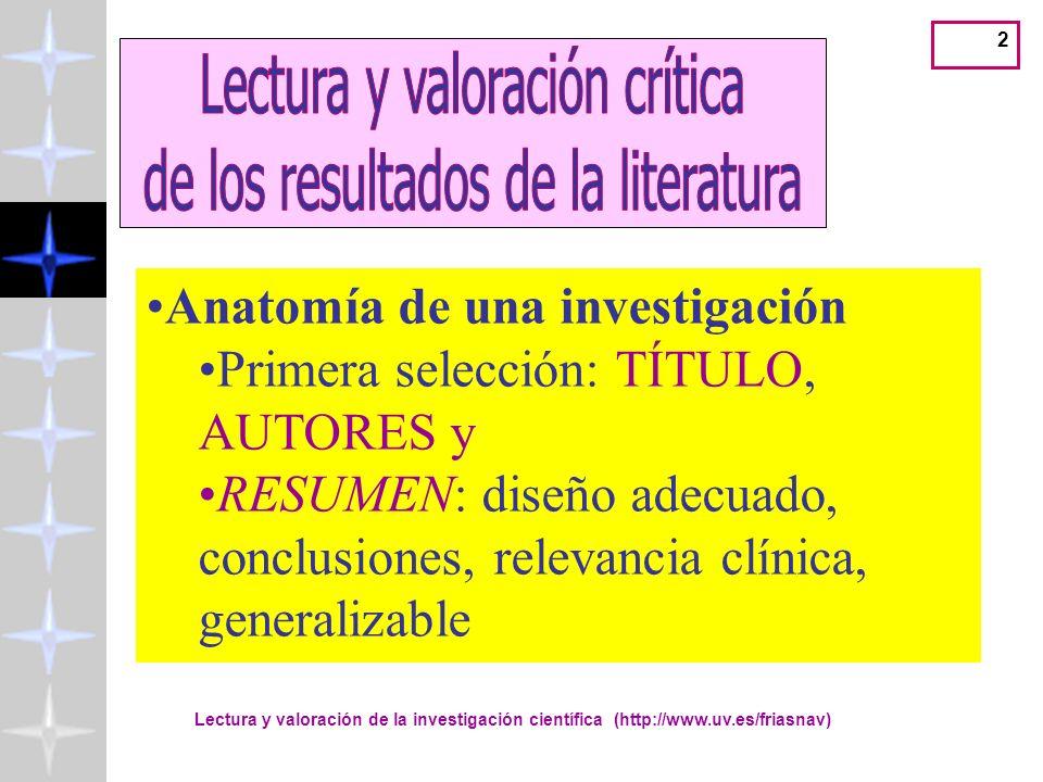 Lectura y valoración de la investigación científica (http://www.uv.es/friasnav) 2 Anatomía de una investigación Primera selección: TÍTULO, AUTORES y RESUMEN: diseño adecuado, conclusiones, relevancia clínica, generalizable