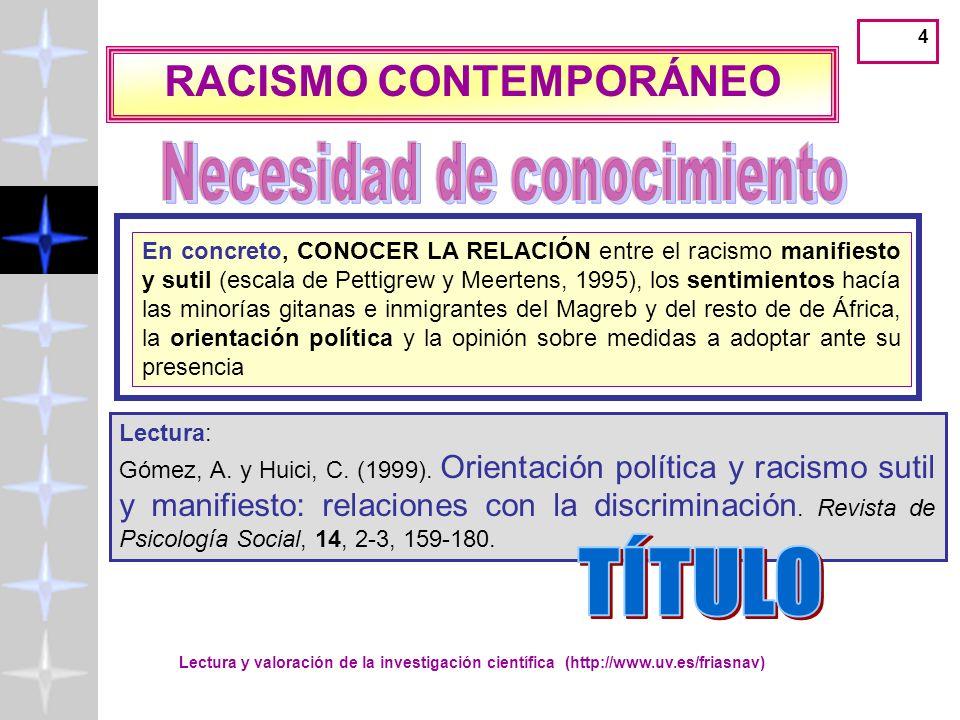 Lectura y valoración de la investigación científica (http://www.uv.es/friasnav) 5 Nuevas formas de racismo Muestra.