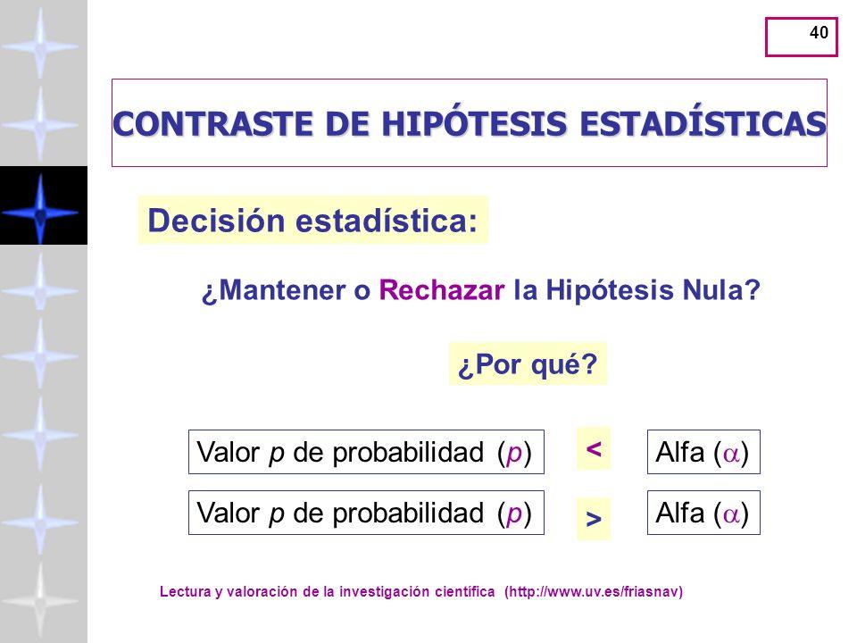 Lectura y valoración de la investigación científica (http://www.uv.es/friasnav) 40 CONTRASTE DE HIPÓTESIS ESTADÍSTICAS Decisión estadística: ¿Por qué.