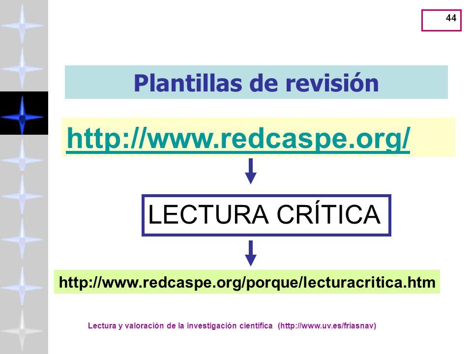 Lectura y valoración de la investigación científica (http://www.uv.es/friasnav) 44 Plantillas de revisión http://www.redcaspe.org/ LECTURA CRÍTICA http://www.redcaspe.org/porque/lecturacritica.htm