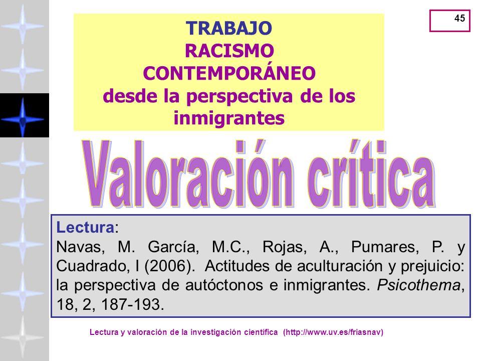 Lectura y valoración de la investigación científica (http://www.uv.es/friasnav) 45 TRABAJO RACISMO CONTEMPORÁNEO desde la perspectiva de los inmigrantes Lectura: Navas, M.