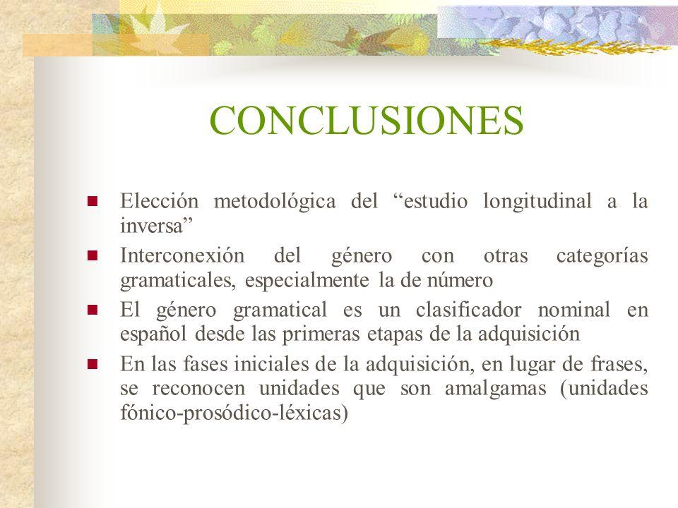 CONCLUSIONES Elección metodológica del estudio longitudinal a la inversa Interconexión del género con otras categorías gramaticales, especialmente la