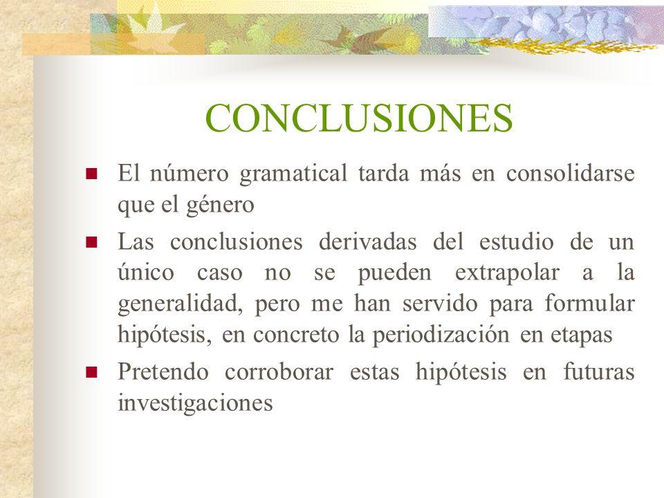 CONCLUSIONES El número gramatical tarda más en consolidarse que el género Las conclusiones derivadas del estudio de un único caso no se pueden extrapo