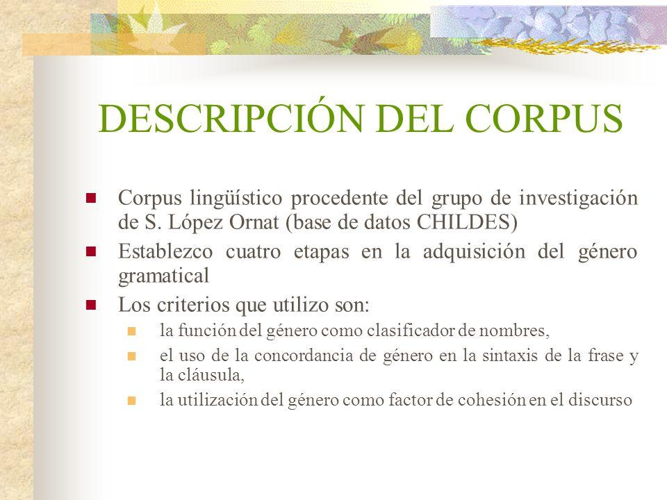 DESCRIPCIÓN DEL CORPUS Corpus lingüístico procedente del grupo de investigación de S. López Ornat (base de datos CHILDES) Establezco cuatro etapas en