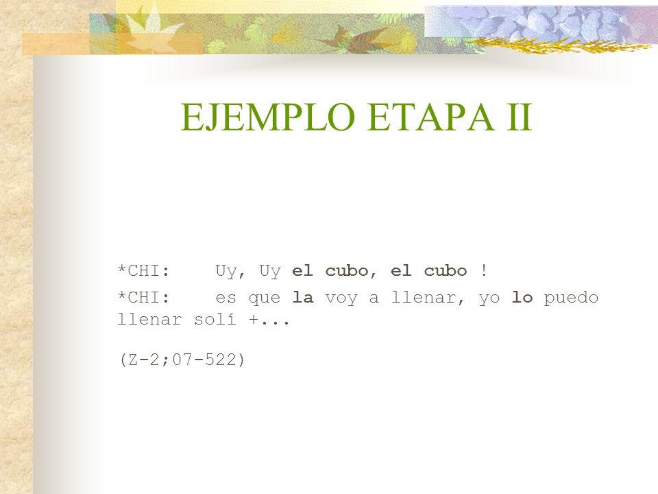 EJEMPLO ETAPA II *CHI:Uy, Uy el cubo, el cubo ! *CHI:es que la voy a llenar, yo lo puedo llenar solí +... (Z-2;07-522)