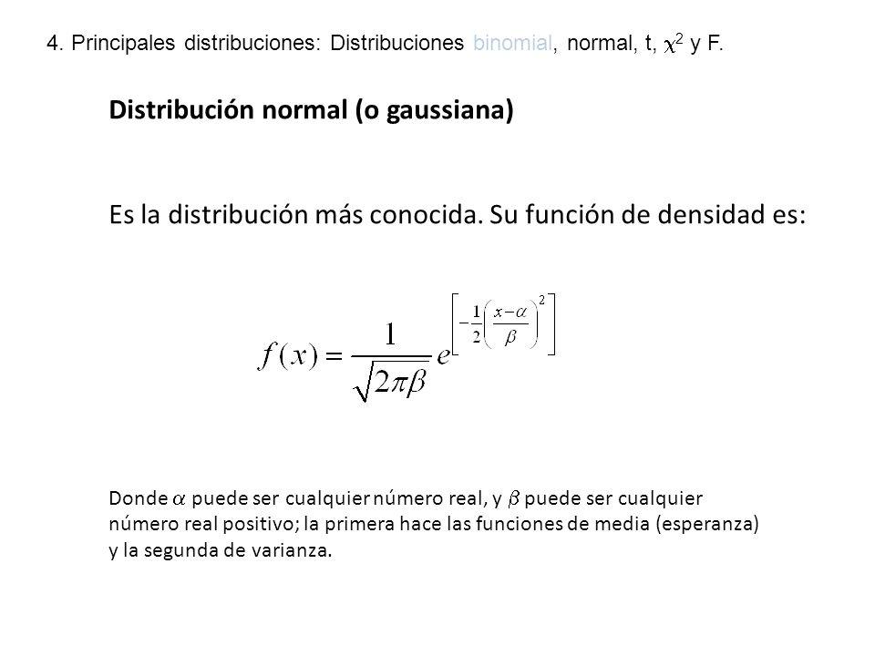 Distribución normal (2) -Es simétrica y unimodal -Como cualquier otra distribución, el área bajo la curva es 1 (recordad que la curva es asintótica respecto al eje de abscisas).