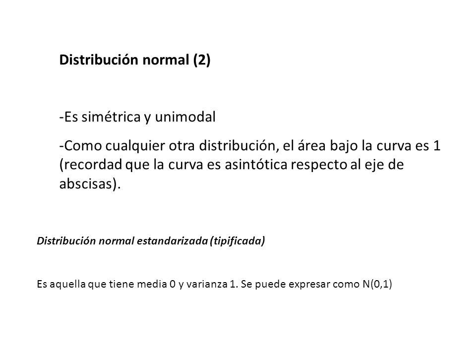 Distribución chi-cuadrado -Nunca adopta valores menores de 0 -Es asimétrica positiva -Es en realidad una familia de curvas, en función de los llamados grados de libertad.