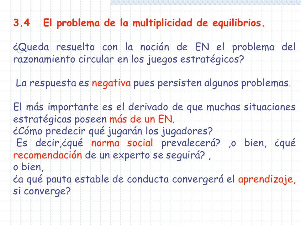 3.4 El problema de la multiplicidad de equilibrios. ¿Queda resuelto con la noción de EN el problema del razonamiento circular en los juegos estratégic