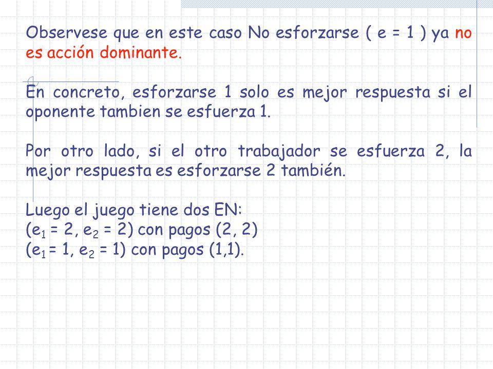 Observese que en este caso No esforzarse ( e = 1 ) ya no es acción dominante. En concreto, esforzarse 1 solo es mejor respuesta si el oponente tambien