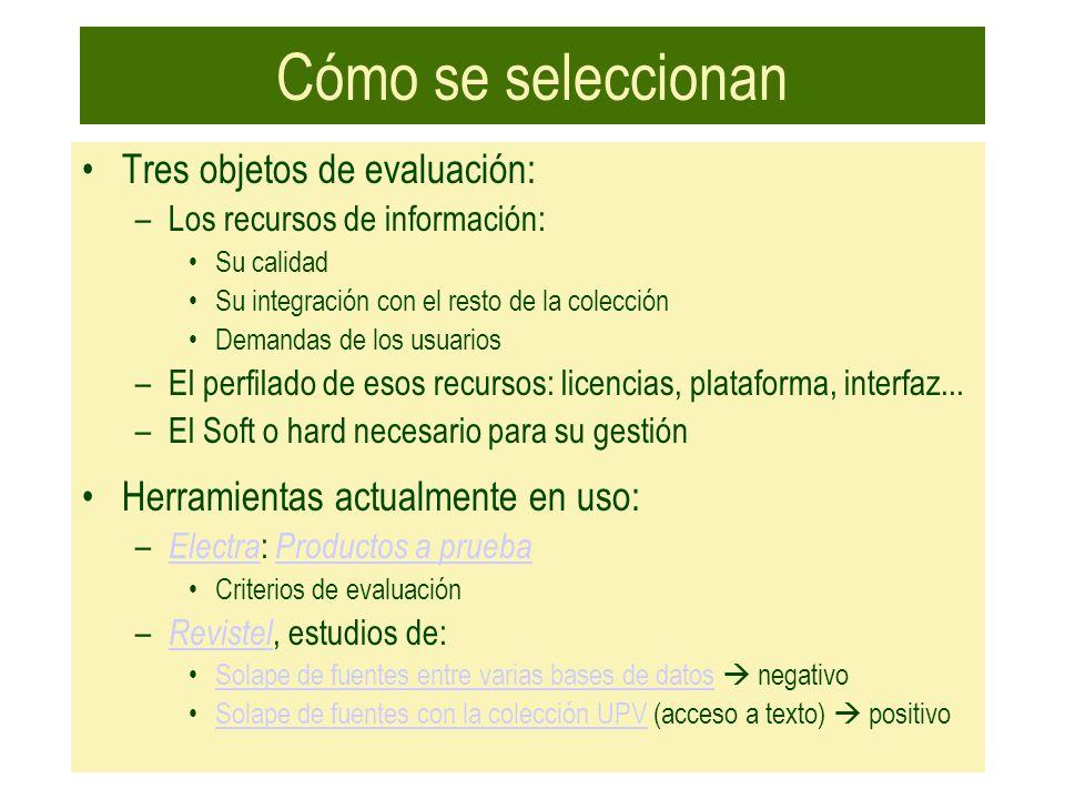 Cómo se seleccionan Tres objetos de evaluación: –Los recursos de información: Su calidad Su integración con el resto de la colección Demandas de los u
