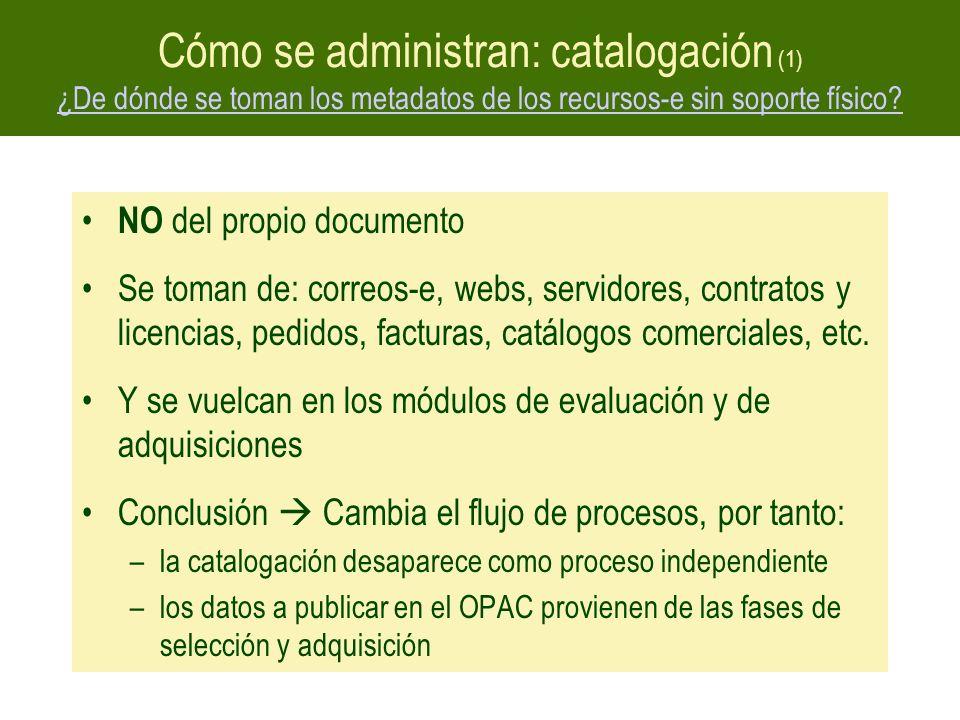 Cómo se administran: catalogación (1) ¿De dónde se toman los metadatos de los recursos-e sin soporte físico? ¿De dónde se toman los metadatos de los r