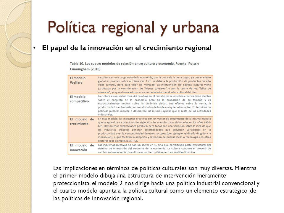 Política regional y urbana Las implicaciones en términos de políticas culturales son muy diversas.