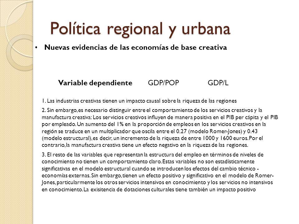 Política regional y urbana Nuevas evidencias de las economías de base creativa 1.