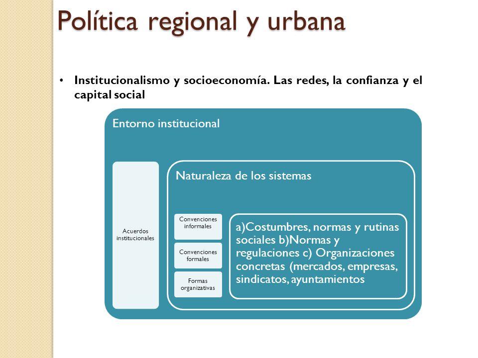 Política regional y urbana Institucionalismo y socioeconomía.