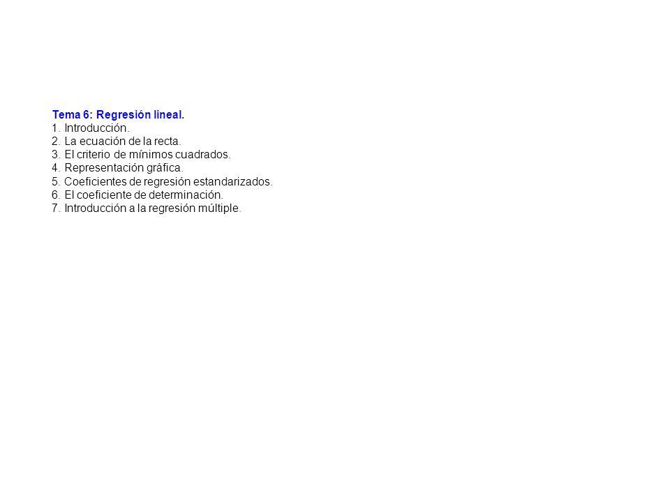 Tema 6: Regresión lineal. 1. Introducción. 2. La ecuación de la recta. 3. El criterio de mínimos cuadrados. 4. Representación gráfica. 5. Coeficientes