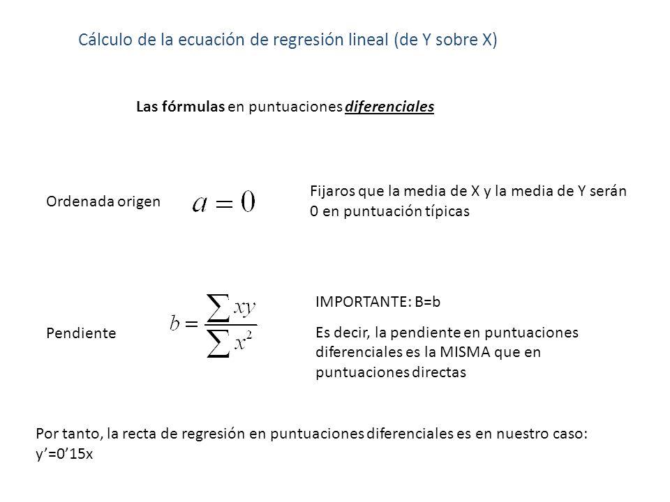 Cálculo de la ecuación de regresión lineal (de Y sobre X) Las fórmulas en puntuaciones diferenciales Pendiente Ordenada origen Fijaros que la media de