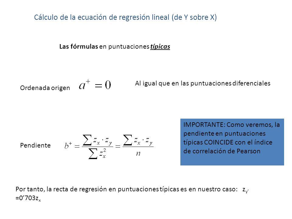 Cálculo de la ecuación de regresión lineal (de Y sobre X) Las fórmulas en puntuaciones típicas Pendiente Ordenada origen Al igual que en las puntuacio