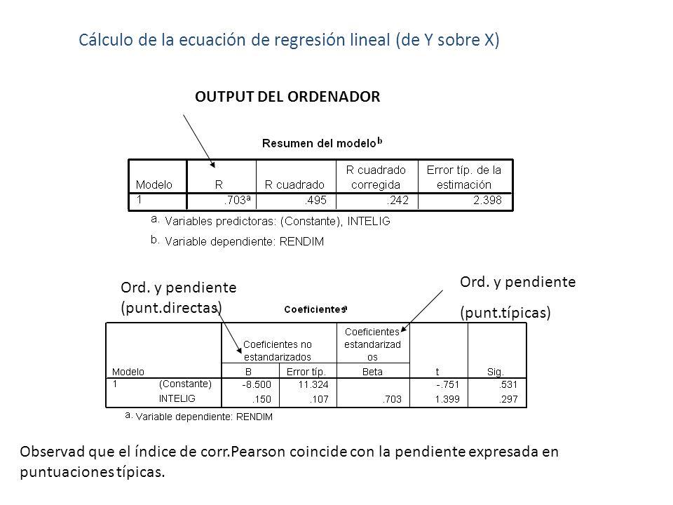 Cálculo de la ecuación de regresión lineal (de Y sobre X) OUTPUT DEL ORDENADOR Ord. y pendiente (punt.directas) Ord. y pendiente (punt.típicas) Observ