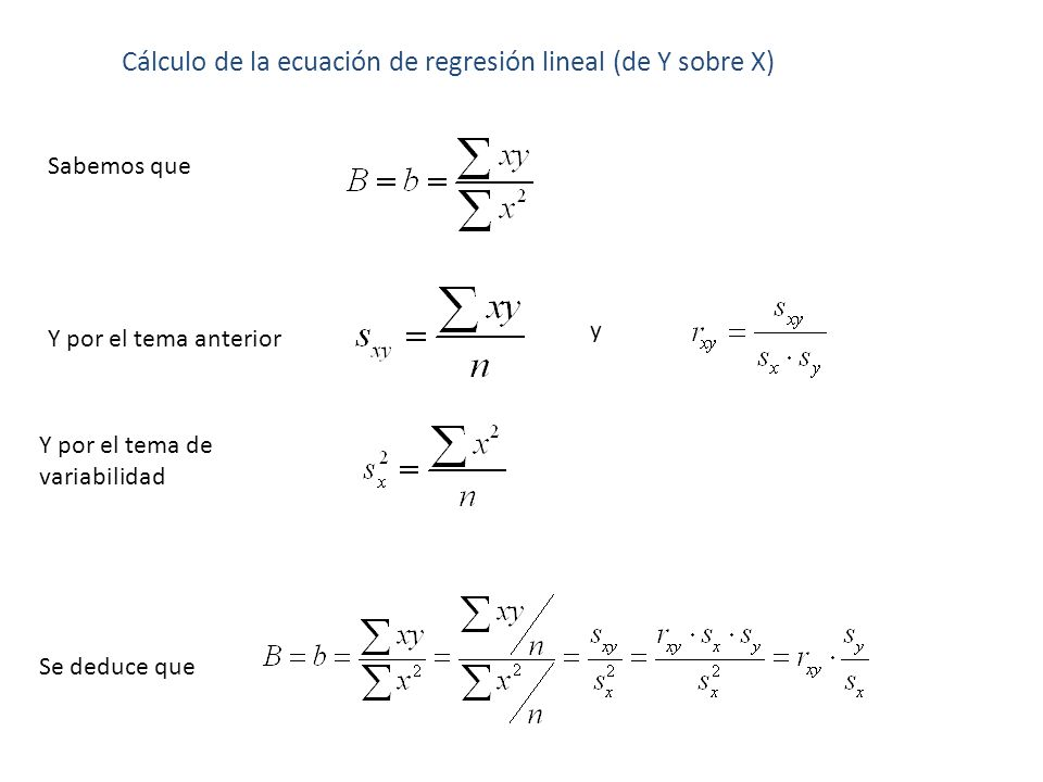 Cálculo de la ecuación de regresión lineal (de Y sobre X) Sabemos que Y por el tema anterior Y por el tema de variabilidad y Se deduce que