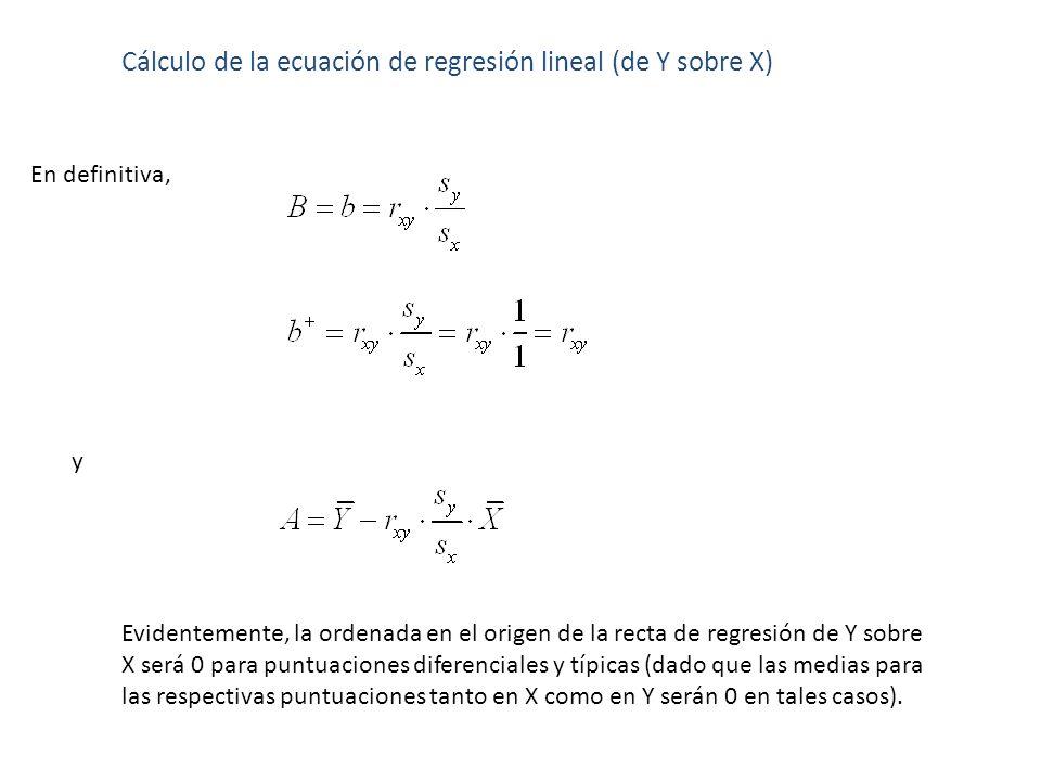 Cálculo de la ecuación de regresión lineal (de Y sobre X) En definitiva, y Evidentemente, la ordenada en el origen de la recta de regresión de Y sobre